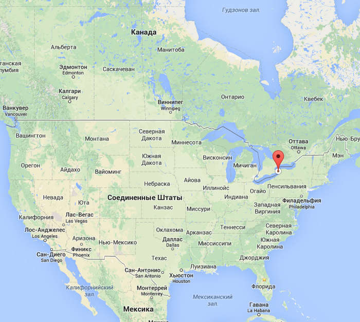 ниагарский водопад на карте
