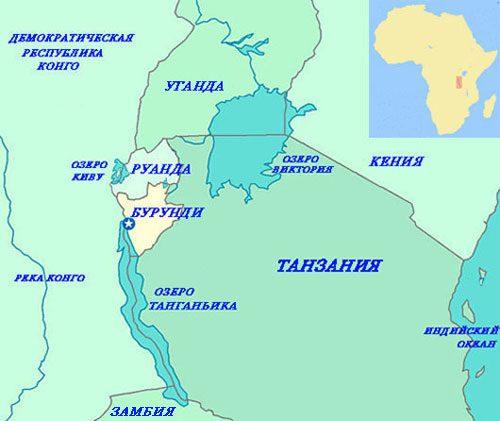 озеро Танганьика на карте