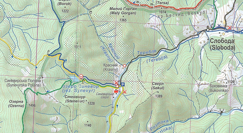 озеро Синевир на карте Украины